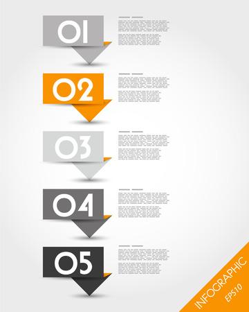 oranje papier origami lang stickers. infographic concept. Stock Illustratie