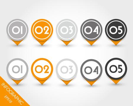 orange set of globe pointers. infographic concept. Vector