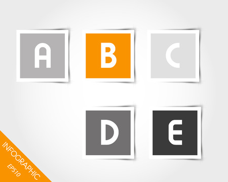 orange square stickers with letters and shadow. infographic concept. Vector