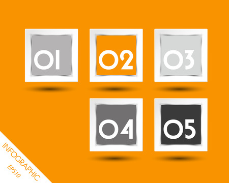 orange square stickers with white numbers. infographic concept. Vector