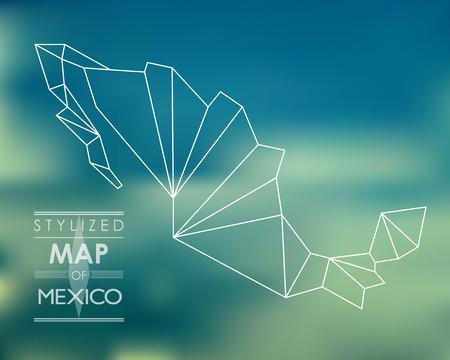 メキシコの様式化された地図。マップの概念  イラスト・ベクター素材