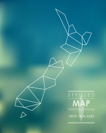 new zealand: Stylized map of New Zealand. map concept