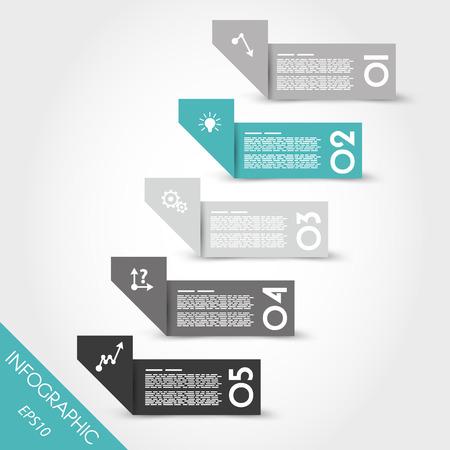 turquoise infographic origami gebogen stickers. infographic concept. Stock Illustratie