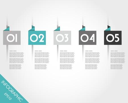 origami turquesa adesivos quadrados. conceito infogr Ilustração