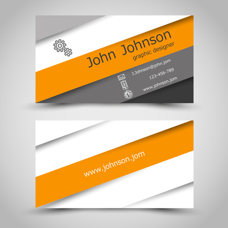 business card with orange stripes. office concept Иллюстрация