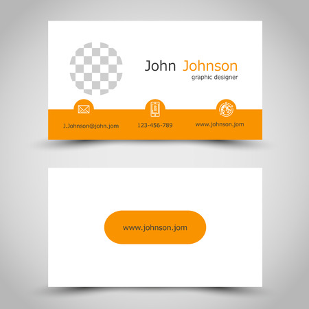 arcs: modern orange business card with arcs. office concept