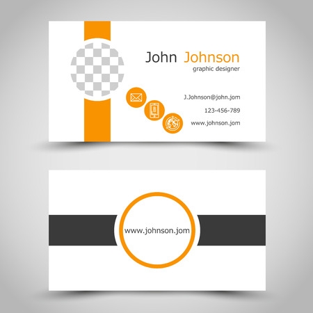 prospectus: modern orange business card with squares. office concept Illustration