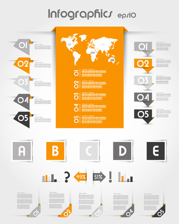 orange infographics with long world sticker. infographic concept. Vector