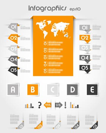 prospectus: orange infographics with long world sticker. infographic concept. Illustration