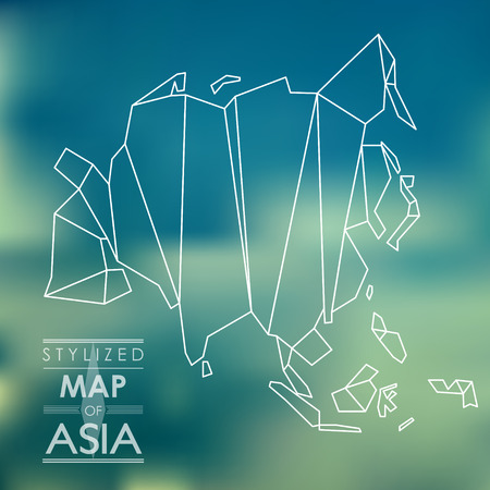 delineation: Stylized map of Asia. map concept Illustration