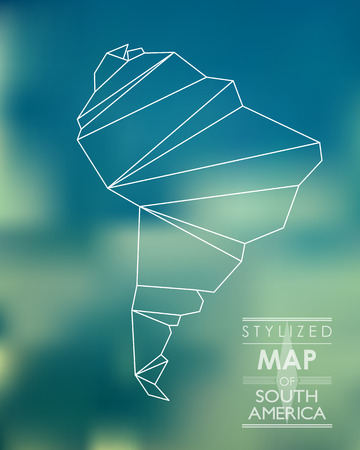 stylized map of South America. map concept Illustration