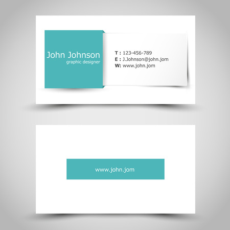 prospectus: turquoise business card with square sticker. office concept