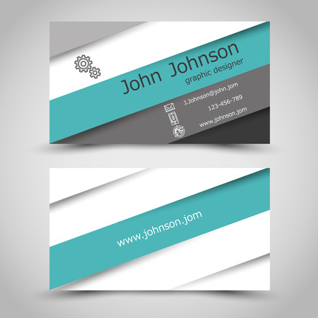 calling card: business card with turquoise stripes. office concept Illustration
