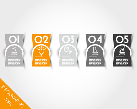 compressed: orange compressed rectangular stickers. infographic concept. Illustration