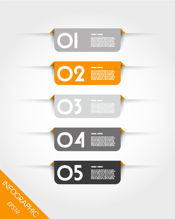 pamphlet: orange rounded rectangular stickers with shadows. infographic concept.