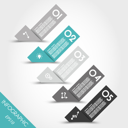 prospectus: turquoise infographic origami bent stickers with icons. infographic concept.