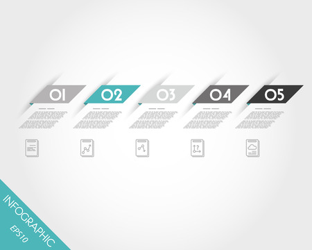 turquoise oblique modern paper stickers. infographic concept.