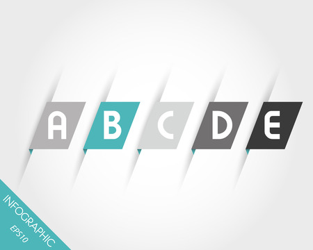 prospectus: turquoise oblique modern paper stickers with letters. infographic concept.