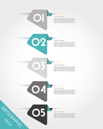 five turquoise rounded irregular stickers. infographic concept. Stock Illustratie