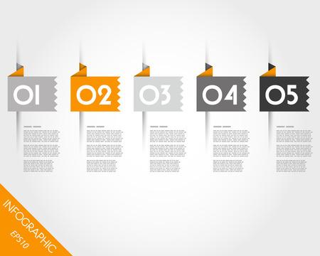prospectus: orange toothed origami square stickers. infographic concept.
