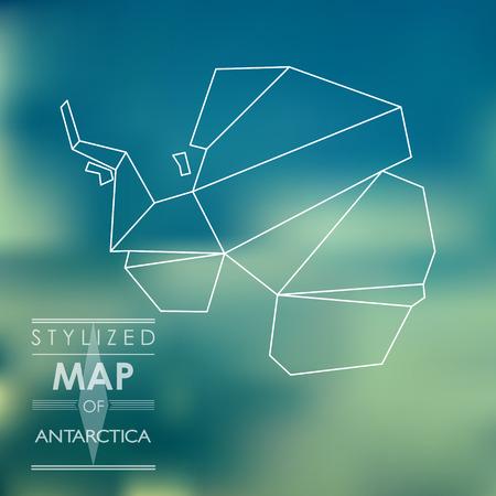 antartide: mappa stilizzata dell'Antartide. mappa concettuale
