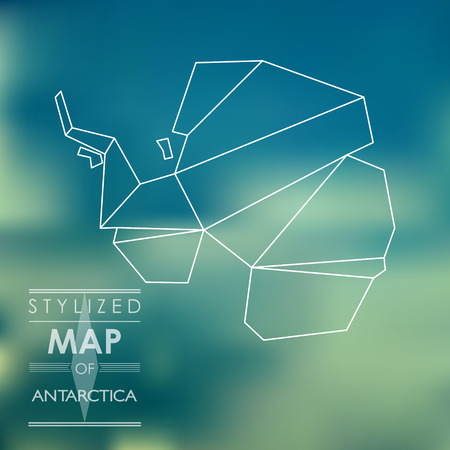 schema: stylized map of Antarctica. map concept
