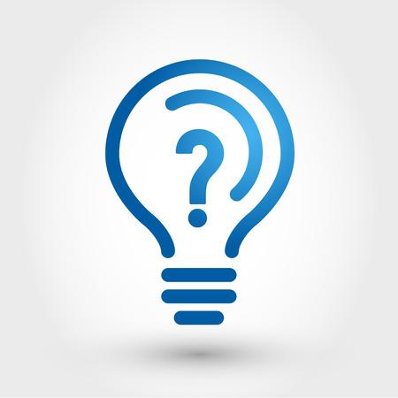 punto di domanda: lampadina con il punto interrogativo, icona della lampadina Vettoriali