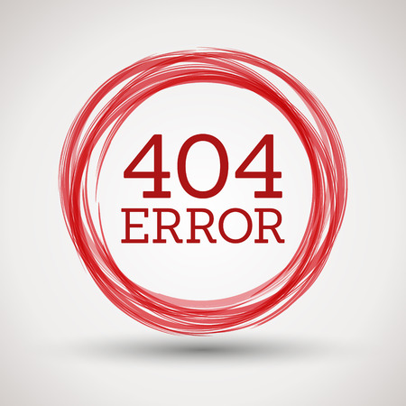 attention icon: red 404 error, concept of error page