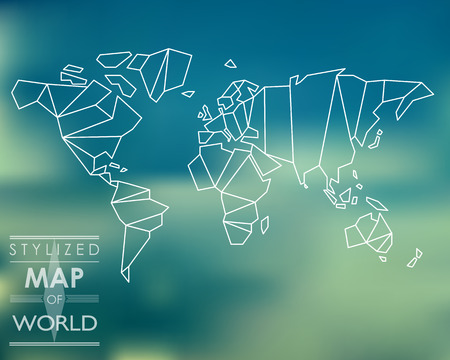 stylized map of world. world map concept. Illustration
