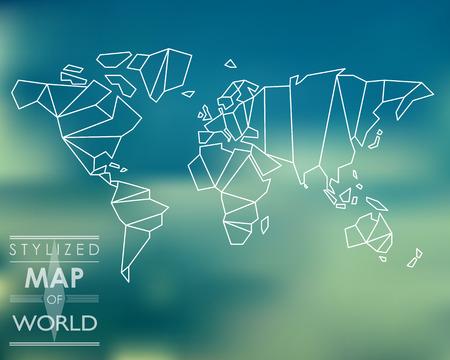 painting and stylized: stylized map of world. world map concept. Illustration