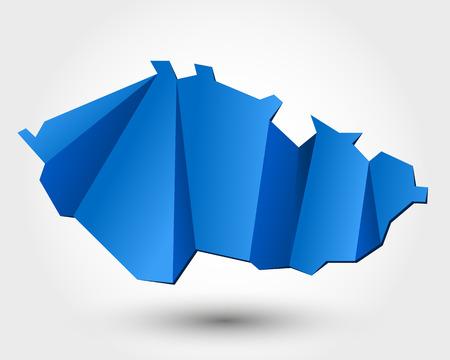 czech: map of Czech republic. origami map concept