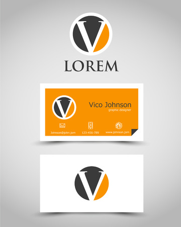 v shape: modern business card V. corporate concept