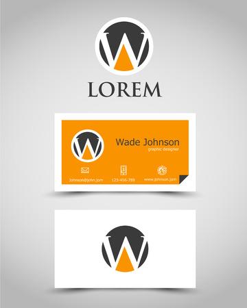 prospectus: modern business card W. corporate concept