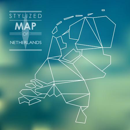 kaart van Nederland. gestileerde kaart-concept Vector Illustratie