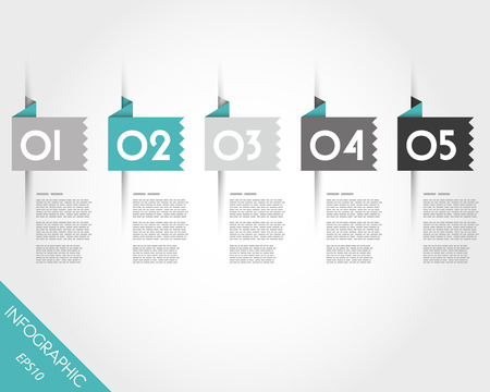 toothed: turquoise toothed origami square stickers. infographic concept. Illustration
