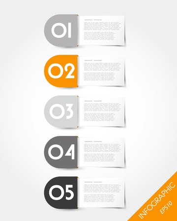 prospectus: orange packaged rounded labels. infographic concept.