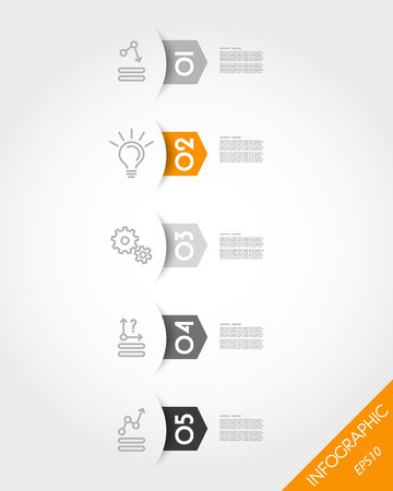 orange arrow stickers with rounded shadow. infographic concept.