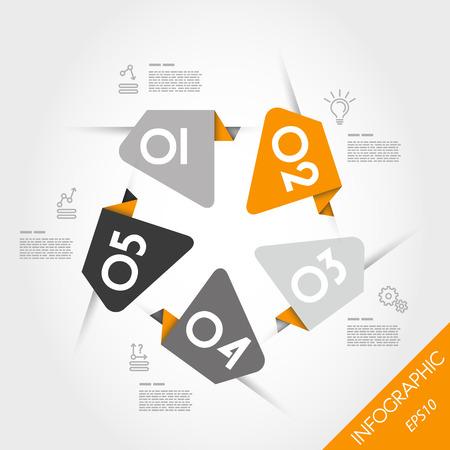 orange arrow: orange stickers with arrow and number. infographic concept.