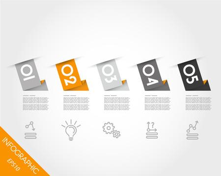 longitudinal: orange longitudinal set of stickers. infographic concept.