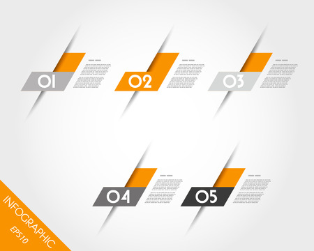 grey backgrounds: orange oblique L stickers. infographic concept. Illustration