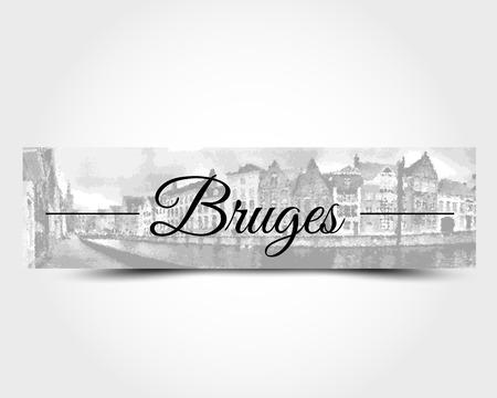 gable: grey banner of Bruges, city concept Illustration