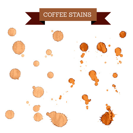 manchas de cafe: manchas de color marr�n caf�, concepto del caf� Vectores