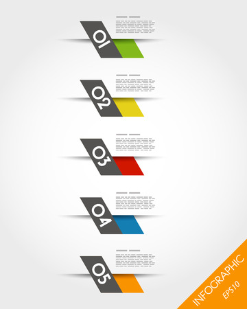 colorful fast oblique infographic stickers. infographic concept. Vector