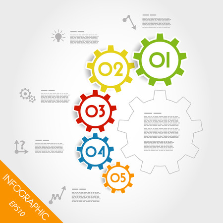 colorful infographic gears in arc. infographic concept. Vector