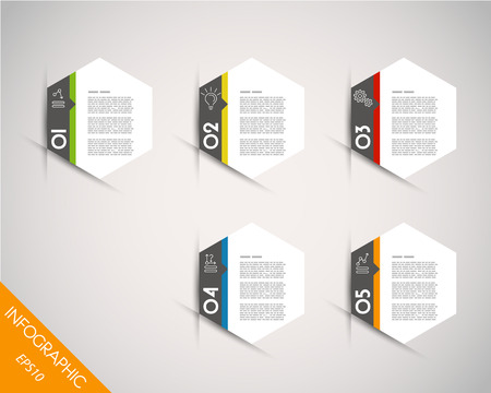 colorful infographic hexagonal stickers. infographic concept. Vector