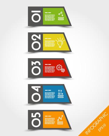 clorful oblique stickers. infographic concept. Vector