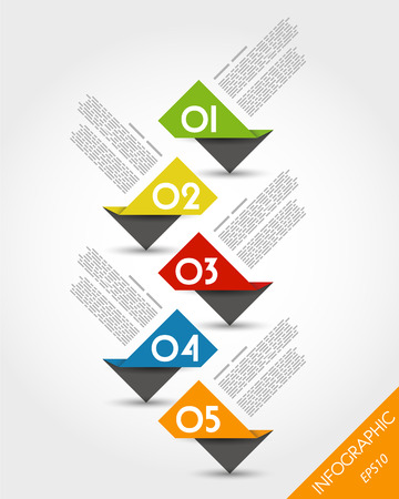 colorful paper origami timeline from stickers. infographic concept.
