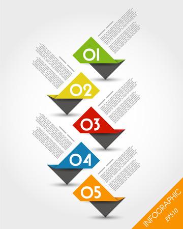 kleurrijke papier origami tijdlijn van stickers. infographic concept. Stock Illustratie