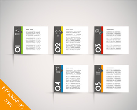 magazine: colorful rectangular stickers with arrow. infographic concept. Illustration