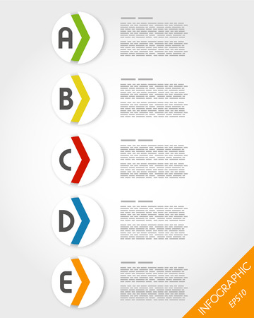 colorful rounded sticekrs with arrow. infographic concept. Vector